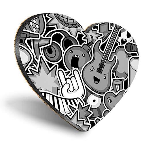 Posavasos con forma de corazón de MDF – BW – Music Art Guitarra, auriculares | Posavasos de calidad brillante | Protección de mesa para cualquier tipo de mesa #42135