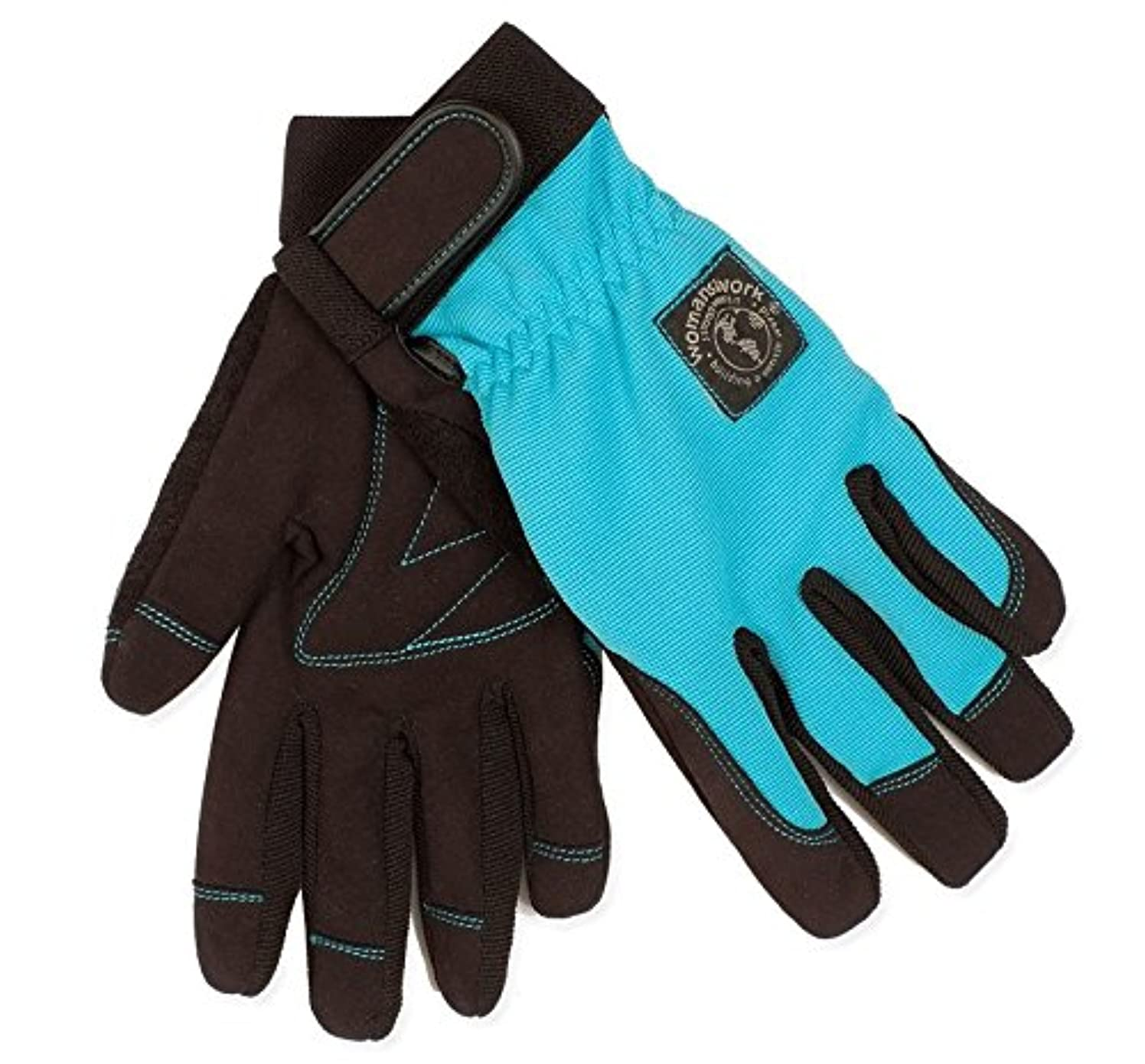 Womanswork 508L Stretch Gardening Glove with Micro Suede Palm, Teal Blue, Large