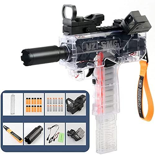 FREEHM Pistola de Bala Suave Recargable/Subfusil Uzi de Alta Velocidad con Electricidad y Fuego/Pistola de Juguete interactiva Entre Padres e Hijos, 0 daños (Transparente