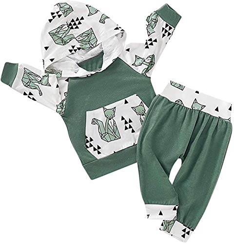 Infant Toddler Baby Girl Boy Clothes Fox Long Sleeve Hoodie Sweatshirt Tops+Pants Outfit Sets,Green,Recommended Age,0-6 Months