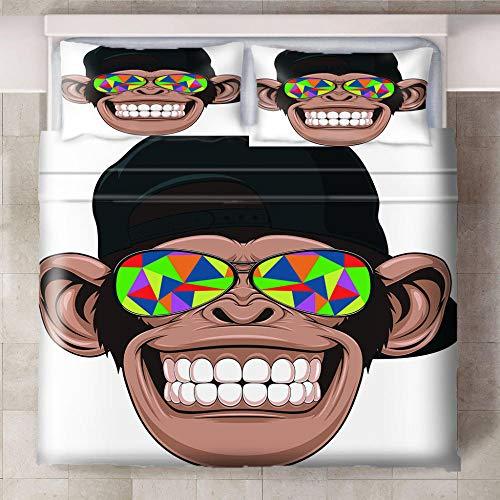 Teqoasiy - Duvet Cover Juego De Cama Matrimonio - Gafas De Sol De Mono De Dibujos Animados 135x200cm Impreso En 3D - Funda De Edredón De Microfibra Suave - Poliéster Funda De Edredón 3 Piezas Con Cier