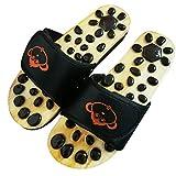 GJJSZ Chaussons de massage des pieds Chaussure de massage en pierre naturelle Santé Soins des pieds Sandales de réflexologie avec des chaussons en pierre favorisent la circulation sanguine(couleur:NOI