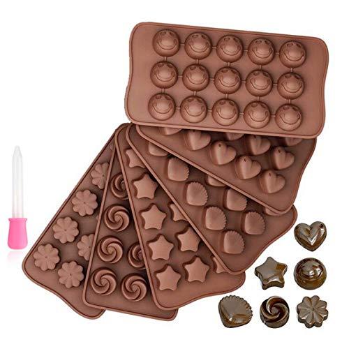 Cozywind 6 Piezas Moldes de Chocolate,6 Formas Diferentes Moldes de Bombones para Caramelos,Chocolate Marrón,Muffins