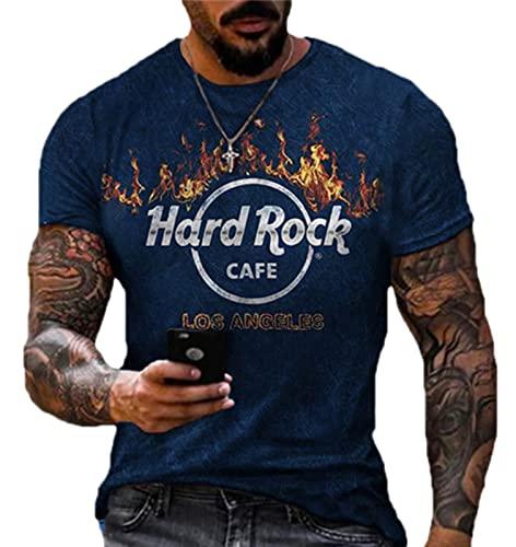 AllMonyba Camiseta con Estampado de Hard Rock Cafe para Hombre Camiseta de Manga Corta con Cuello Redondo Retro Camisetas desgastadas de Motociclista de Verano