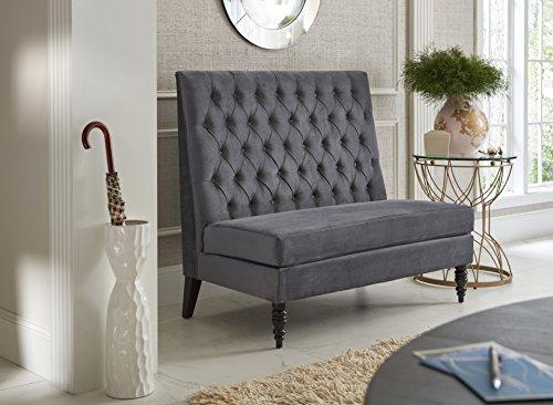 """Pulaski Tufted Upholstered Settee Accent Chair in Velvet Skylark, 49"""" x 30"""" x 41"""", Silver"""