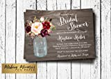 Marsala Mason Jar Bridal Shower Invitation, Mason Jar Bridal Shower Invitation, ,rustic, country, western, Bridal Shower,-5x7