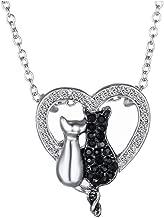 Collier Pendentif Coeur Amoureux Chats Noir et Blanc en Strass