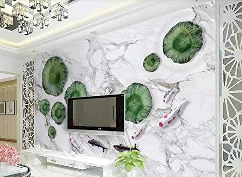 ZZXIAO Lotus Fish White Wanddekoration Wandtapete wandpapier fototapete 3d effekt tapete Wohnzimmer Schlafzimmer Hintergrundbild-350cm×256cm