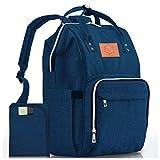 Mochila para pañales - bolsa de viaje para bebés impermeable y multifunción para mamá,papá, hombres y mujeres - Bolsas de maternidad grandes para pañales - Duradera y elegante (Azul marino)