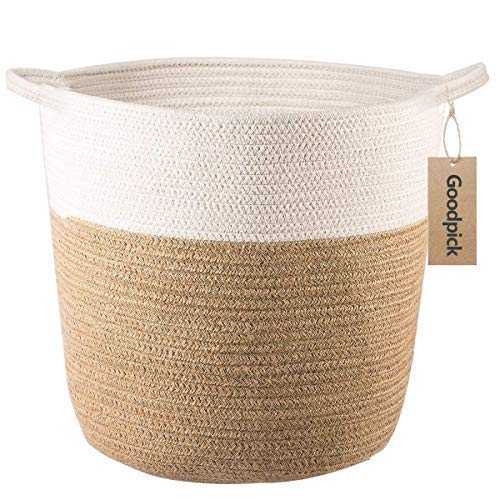 Goodpick Cotton Rope Storage Basket - Jute Basket Woven Planter Basket Rope Laundry Basket with Handles for Toys, Blanket and Pot Plant Cover, 40.6x 38.1x32CM