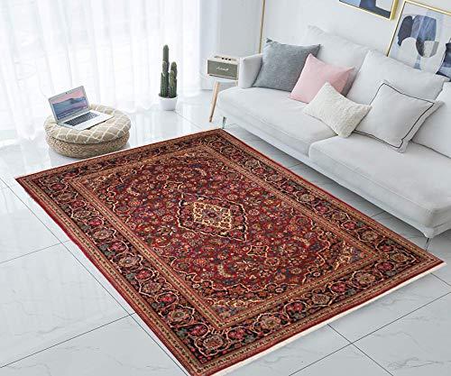 TrendyLiving4U tapijt woonkamer laagpolig Perzië Kashan handwerk 134x209cm rood-blauw