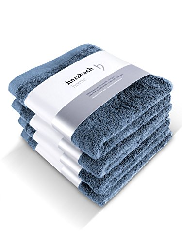 herzbach home Handtuch 4er-Set Premium Qualität aus 100% Baumwolle 50x100 cm extra weich (Graublau)