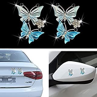 Crystal Butterfly Car Emblem, 3D Metal Bling Butterfly Car Sticker Decal Bling Car Exterior Accessories Decorate Cars Bumper Window Laptops Luggage Rhinestone Sticker(2 Pack)