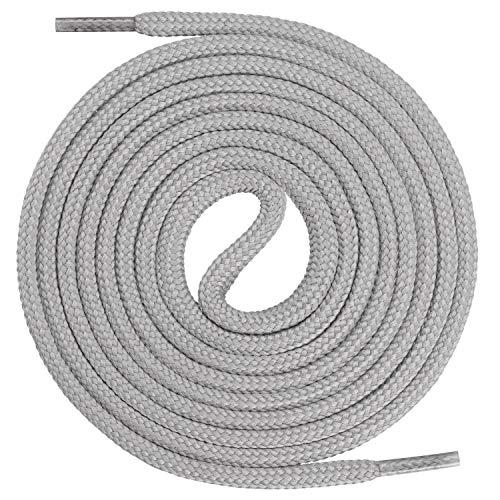 Mount Swiss runde Premium-Schnürsenkel für Arbeitsschuhe, Wanderschuhe und Trekkingschuhe - Polyester - ø 4,5 mm - sehr reißfest - Farbe Grau Länge 120cm
