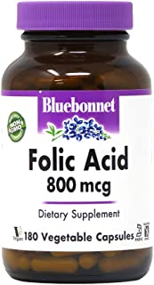 Bluebonnet Folic Acid 800 mcg Vegetable Capsules, 180 Count
