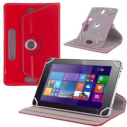 NAUC Tasche Hülle für ODYS Ieos Quad 10 Pro Schutzhülle Tablet Cover Hülle Bag Etui, Modellauswahl:Rot 360° mit Univ. Kameraausschnitt