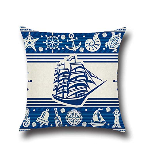 zzxywh Marine Decoration Anchor Tortoise Nautical Cushion Cover Ocean Cotton Pillow Home 45×45cm with pillow core
