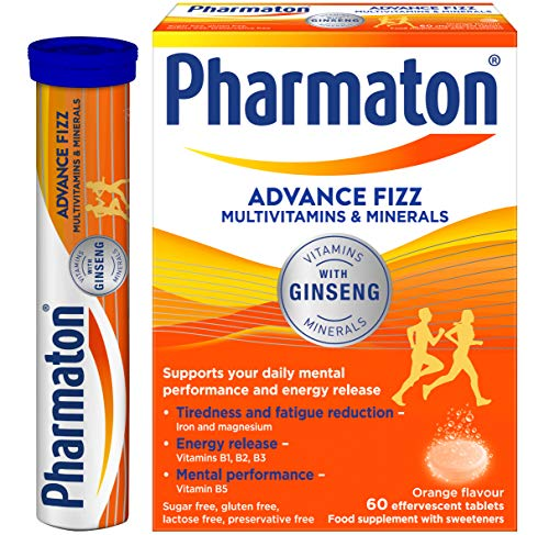 Pharmaton Advance Fizz Multivitamins and Minerals with Ginseng - Orange Flavour - 60 Effervescent Tablets