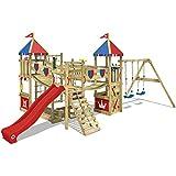 WICKEY Parco giochi in legno Smart Queen Giochi da giardino con altalena e scivolo rosso, Torre d'arrampicata da esterno con sabbiera e scala di risalita per bambini