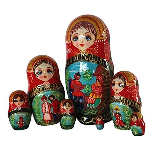 FEANG Muñecas rusas de anidación de muñecas rusas para niños de madera 7 piezas Matryoshka jugar el piano apilable conjunto anidado para Navidad Halloween Deseando regalo Juguetes hechos a mano