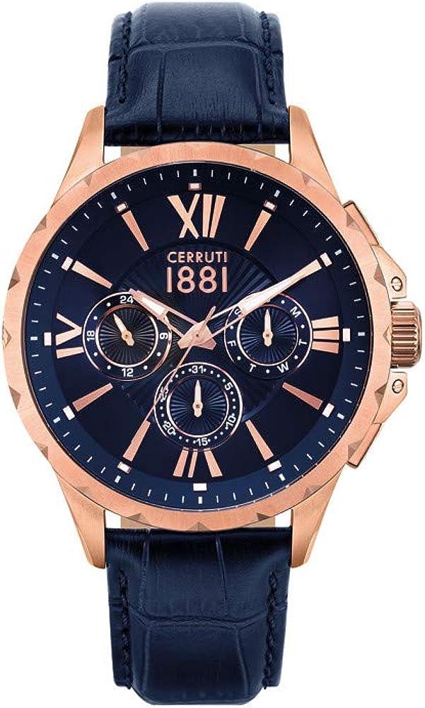 Cerruti 1881,orologio,cronografo per uomo,cassa in acciaio e cinturino in vera pelle CRA20202