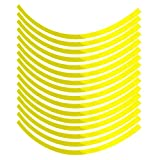 Cuque Universal Car Motorcycel Wheel Reflective Pinstripe Decal Tape Sticker Decoration Film Sticker Fluorescent Reflective Car Decals 6 Colors(Fluorescent yellow)