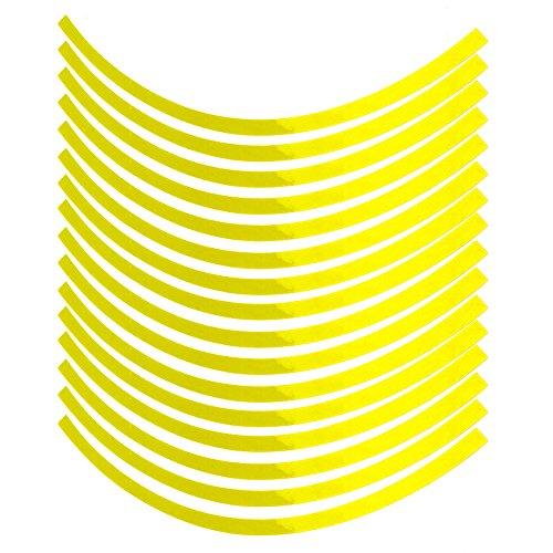 Adhesivo reflectante para rueda de motocicleta para coche, bicicleta y decoración de etiquetas de 16 a 19 pulgadas, color amarillo