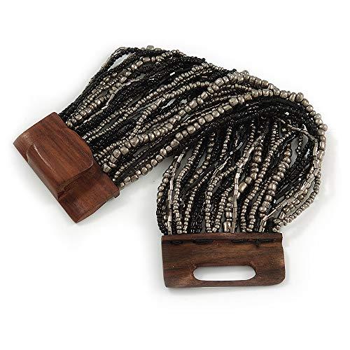 Avalaya - Bracciale flessibile multifilo con perle di vetro nero/grigio con chiusura in legno, lunghezza 19 cm