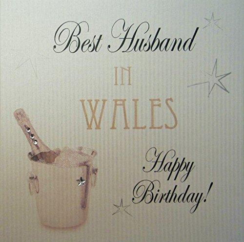 White Cotton Card-Best Husband In Wales Happy Birthday handgemaakt Town kaart met champagne emmer
