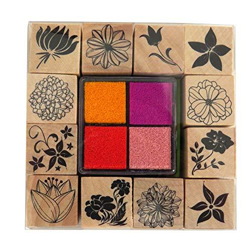 Craft Sensations Holz dekorative Stempel Set mit Farbe Stempelkissen, Blumen
