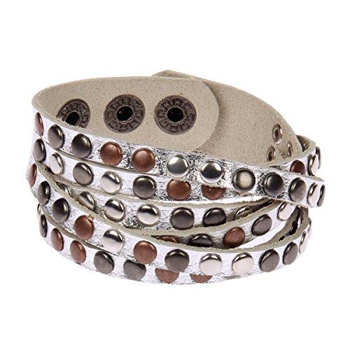 Kossberg Damen Leder Armband Nieten Strass Metallic (Silber)