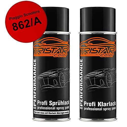 TRISTARcolor Motorradlack Spraydosen Set für Piaggio Scooters 862/A Red Sprint Basislack Klarlack Sprühdose 400ml