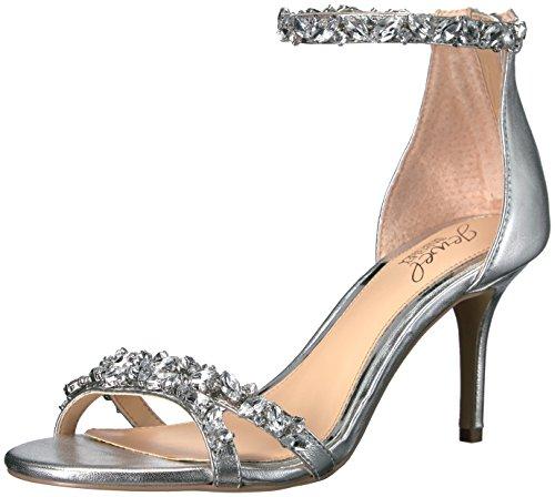 Jewel Badgley Mischka Women's Caroline Dress Sandal, Silver Metallic, 8.5 M US