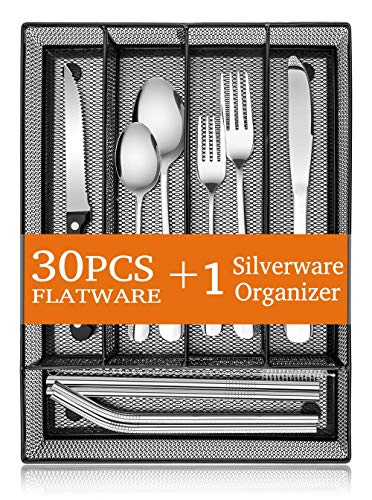 31-Piece Silverware Set E-far Stainless Steel Flatware Cutlery Set Service for 4 with Mesh Utensil Drawer Organizer Include ForksSpoonsKnivesSteak KnivesStraws Mirror Polish Dishwasher Safe