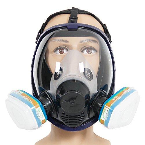 Kompletter Anzug 6800 Wiederverwendbare Vollgesichts-Atemschutzmaske zum Lackieren, Polieren, Schweißen und Staub, 2 Arten von Anschlüssen, Gas-Atemschutzgerät mit organischem Dampffilter