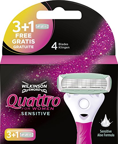 Wilkinson Sword Quattro for Women Sensitive Rasierklingen für Damen Rasierer, 3 + 1 St