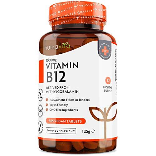 Vitamine B12 1000 µg Végan - 12 Mois d'Approvisionnement - 365 Comprimés Végan, Facile a Avaler – Sans OGM - Formule Avancée pour usage quotidien - Fabriqué au Royaume-Uni par Nutravita
