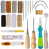 QAQGEAR Kit de costura para manualidades en cuero, 23 piezas Kit de reparación Herramientas para manualidades en cuero para bricolaje Herramienta manual para trabajos de cuero, Reparación de tapicería