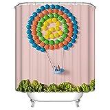 Amody Badezimmer Duschvorhang Süßigkeiten Heißluftballon 150x180CM Anti Schimmel Duschvorhang Duschvorhang Zubehör