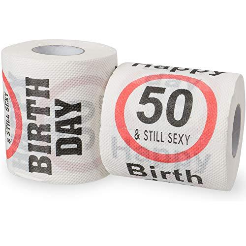 Happy 50 & Still Sexy Birthday Klopapier, Dekoration und Geschenk Verpackung für den 50. Geburtstag, lustiges Motto Klo Papier, Fun Toilet Paper, Geschenkartikel, Geburtstags-Dekoration, lustige Rolle
