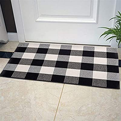 Buffalo Plaid Rug, 23.6''x35.4'' Black and White Plaid Cotton Hand-Woven Outdoor Doormat Machine-Washable Rugs for Layered Door Mats Front Porch/Kitchen/Farmhouse