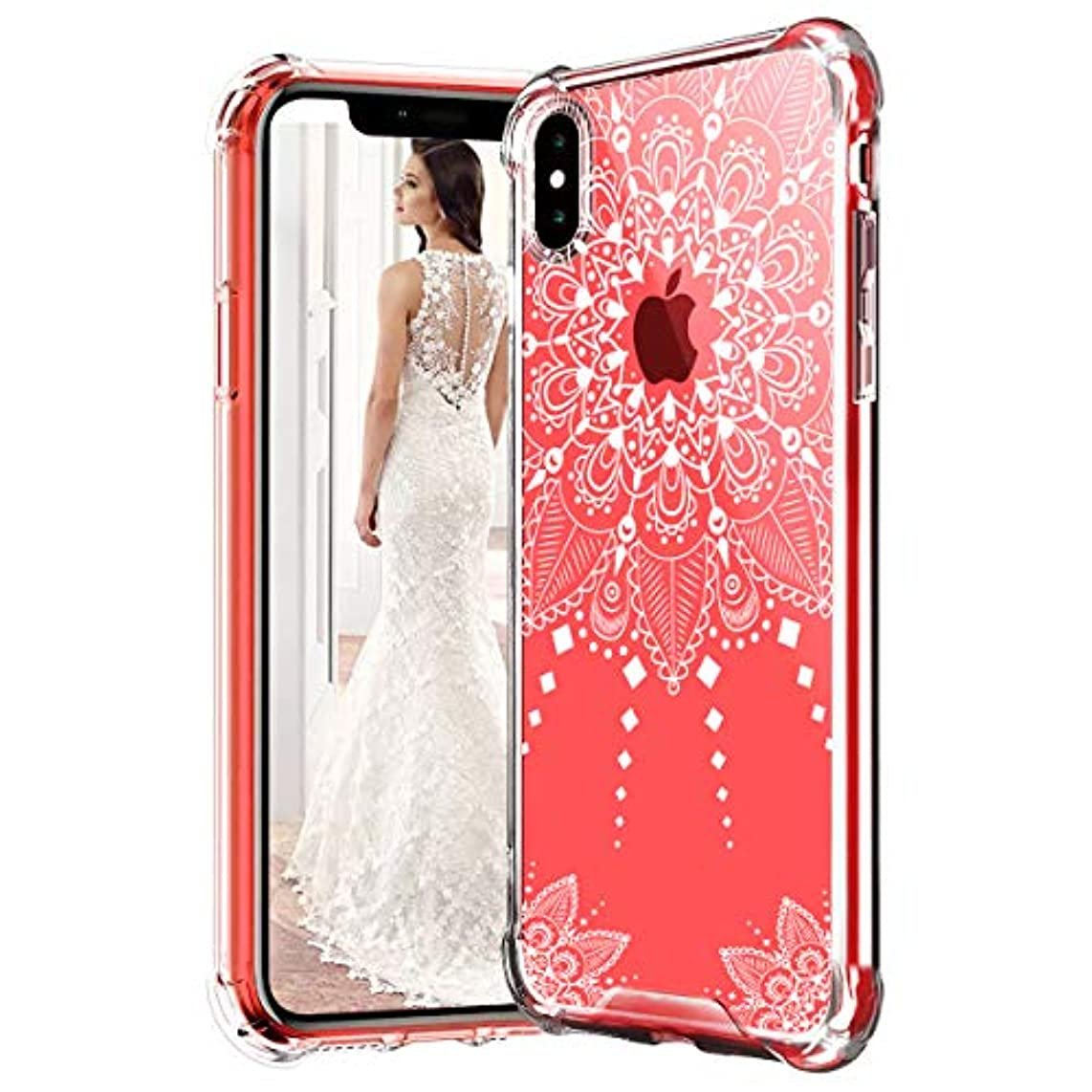 AXAYINC Case for iPhone Xs MAX(6.5) Inch,Mandala Floral Lace Clear Design Printed Transparent Hard Case Shock Absorption Technology Bumper TPU Cover Case for iPhoneXS MAX(6.5) Inch (XS MAX(6.5inch))