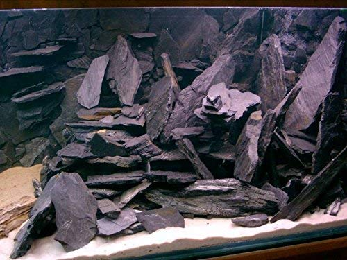 Schiefersteine schwarz Dekoration Aquarium Natursteine Schiefer 25kg (5kg, Schwarz)