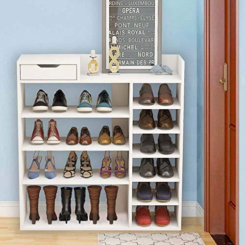 KEEPREAPER Groß Schuhschrank Schuhablage Schuhregal für Eingangsbereich Flur Schuhaufbewahrung Weiß Holz (Groß Schuhregal)