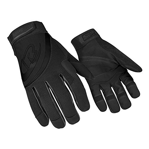 Ringers Gloves R-353 Rope Rescue Glove with Padded Palm for Rappelling, Rope Rescue, and Belaying, Black, Medium
