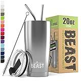 BEAST Edelstahl Becher Vakuumisolierte Tasse Kaffeebecher Doppelwandige Reiseflasche Thermobecher mit Spritzfestem Deckel, Paket mit 2 Strohhalmen, Rohrbürste & Geschenkbox (20oz, Stahl)