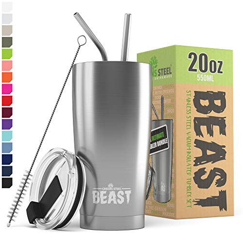 BEAST 20oz Stainless Steel Tumbler - Vacuum Insulated Coffee Cup Double Wall Travel Flask Mug with Splash Proof Lid, 2 Straws, Pipe Brush & Gift Box Bundle