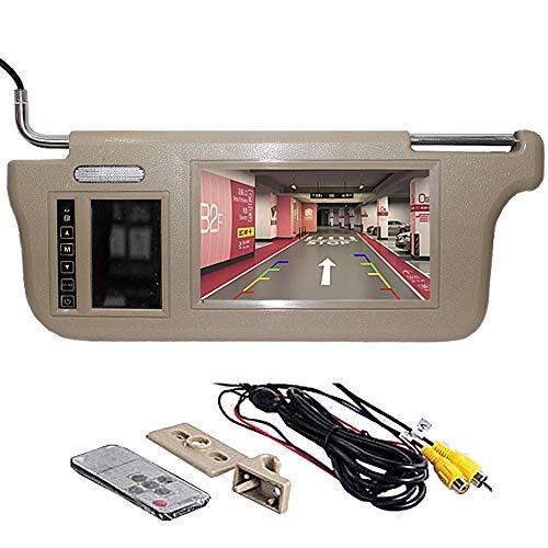 GGTFA Lado Del Conductor Visera del Espejo de la Vista Posterior del Monitor parasol 2 de Entrada de Vídeo de la Cámara del Coche de GPS del DVD de TV Beige