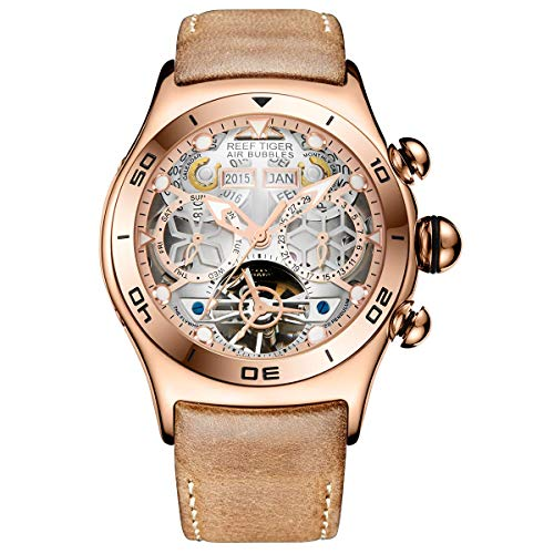 Reef Tiger Sport Mens Tourbillon Watch Multi-Functional Rose Gold Skeleton Automatic Watches RGA703 (RGA703-PWB)