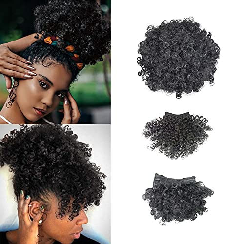 Afro Puff Drawstring Ponytail with Bangs for Black Women Short Kinky Curly Ponytail Extension Pineapple Updo Hair for Black Women(1B Black)